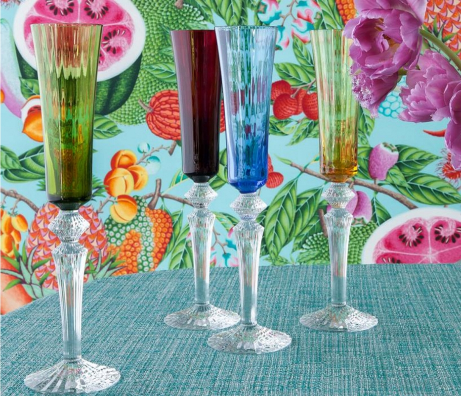 MILLE NUITS COLLECTION. A set of 4 flutes in red, green, blue and yellow.